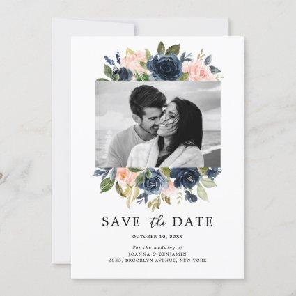 Blush Pink Navy Blue Florals Wedding Photo Save The Date