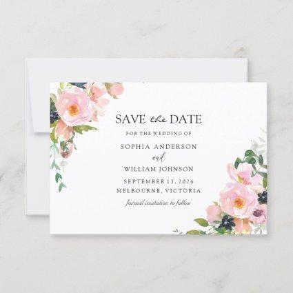 Blush Pink Navy Floral Watercolor Wedding Save The Date