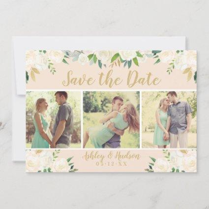 Blush Pink Neutral Blooms | Floral Wedding Photo Save The Date