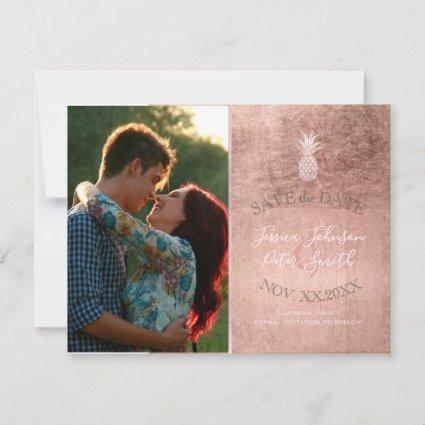 Blush Pink Pineapples+Rose Gold Save The Date