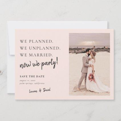 Blush Pink Post Wedding Update Save the Date