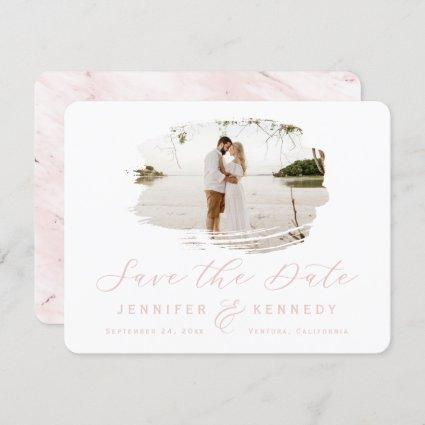 Blush Pink Romantic Brushed Frame with Photo Save The Date