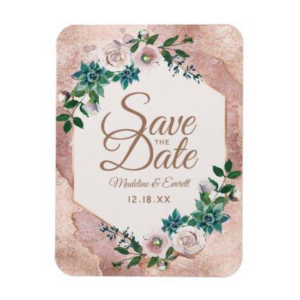 Blush Pink Rose Gold Floral Save the Date Wedding Magnet