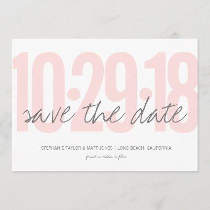Blush Pink Save the date, wedding, photo on back Save The Date