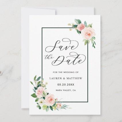 Blush Pink Watercolor Bloom Wedding Save the Date