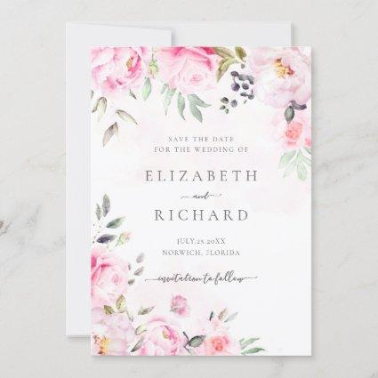 Blush Pink Watercolor Floral Greenery Wedding Save The Date