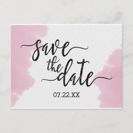 Blush Pink Watercolor Wedding Save the Date Announcement
