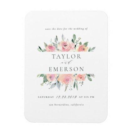 Blush & Sage Watercolor Floral Save The Date Magnet