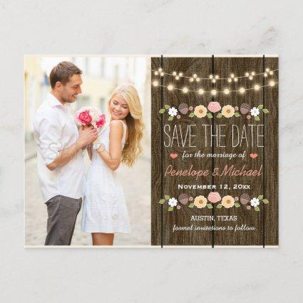 Blush String of Lights Rustic Fall Save the Date Announcement