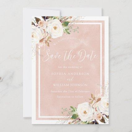 Blush Watercolor White Flowers Beautiful Wedding Save The Date