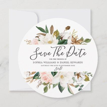 Blush & White Florals Elegant Modern Wedding Save The Date