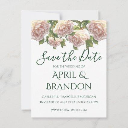 Blushing Ivory Peach Rose Save The Date