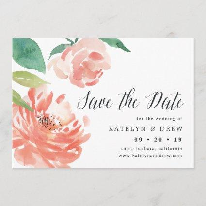 Blushing Peony Save the Date Card