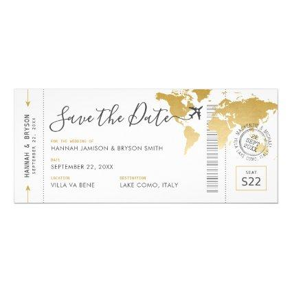 Boarding Pass Save the Date Gold World Map Invitation
