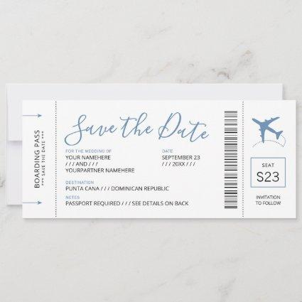 Boarding Pass Save the Date Invitation Blue Plane