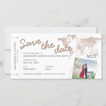 Boarding Pass Save the Date Photo Tan World Map