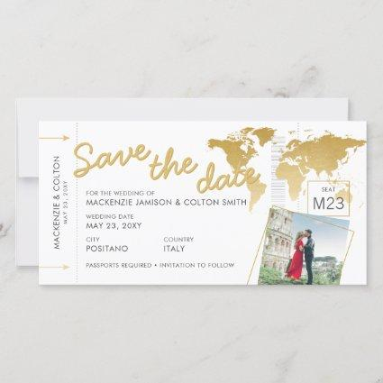 Boarding Pass Save the Date Photo World Map Gold