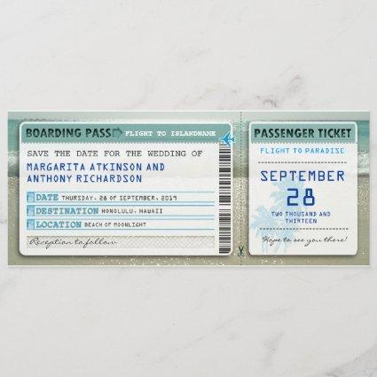 boarding pass save the date tickets with sea waves