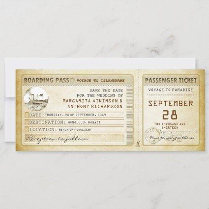 boarding pass save the date tickets with ship