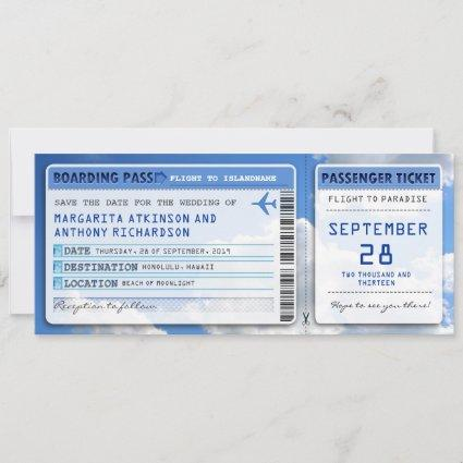 boarding pass save the date tickets with sky cloud