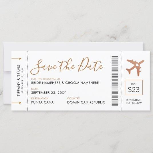 Boarding Pass Ticket Save the Date Copper Plane Announcement