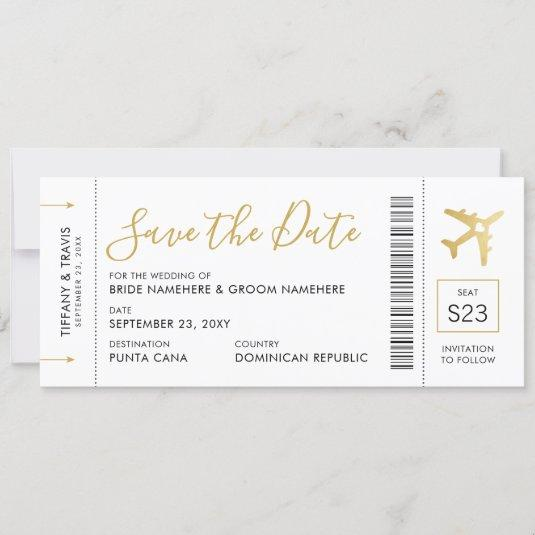 Boarding Pass Ticket Save the Date Gold Plane Card