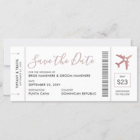 Boarding Pass Ticket Save the Date Rose Gold Plane Announcement