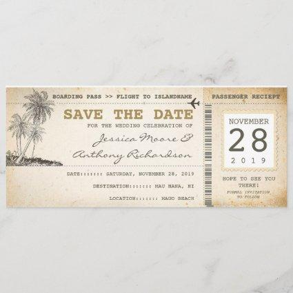 boarding pass tickets for save the date