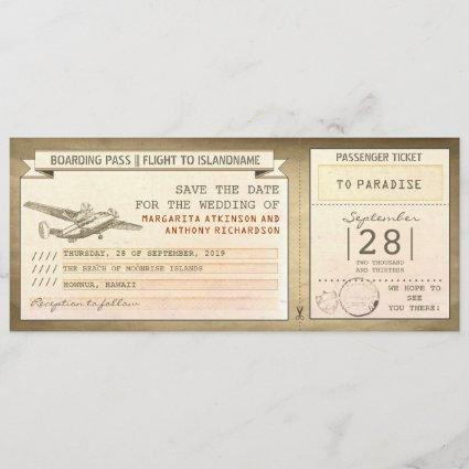boarding pass tickets -vintage save the date