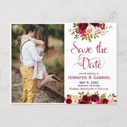 Bohem Chic Burgundy Marsala Floral Save the Date Announcement