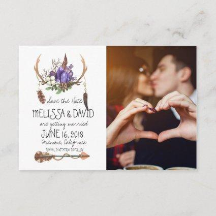 Bohemian Antler Save the Date - Photo