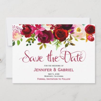Bohemian Burgundy Marsala Floral Save the Date