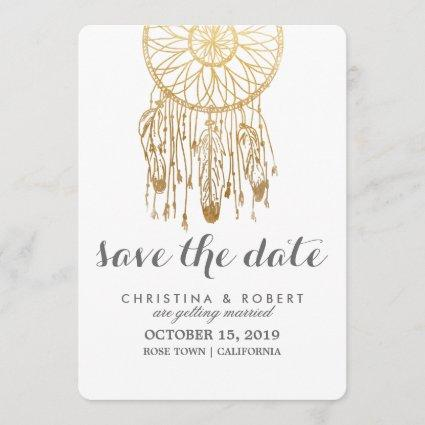 Bohemian Dreamcatcher Faux Gold Foil Save The Date