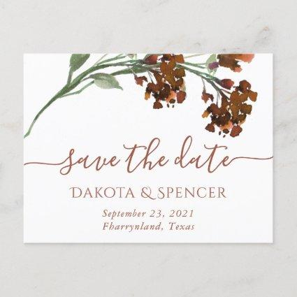 Bohemian Wildflower | Burnt Orange Floral Wedding Announcement