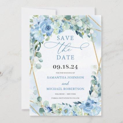 Boho Blue Floral Roses and Gold Geometric Save The Date