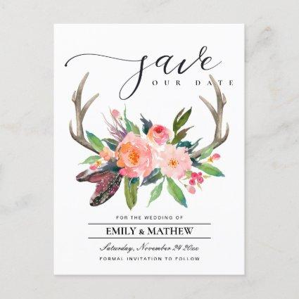 BOHO BLUSH ANTLER FLORAL COUNTRY SAVE THE DATE ANNOUNCEMENT