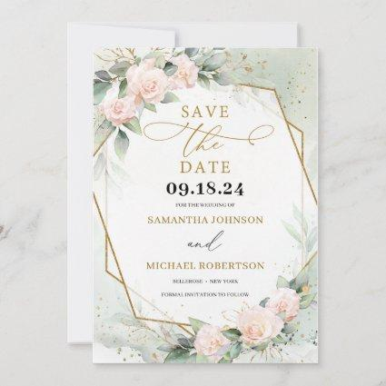 Boho Blush Pink Floral eucalyptus Gold Frame Save The Date