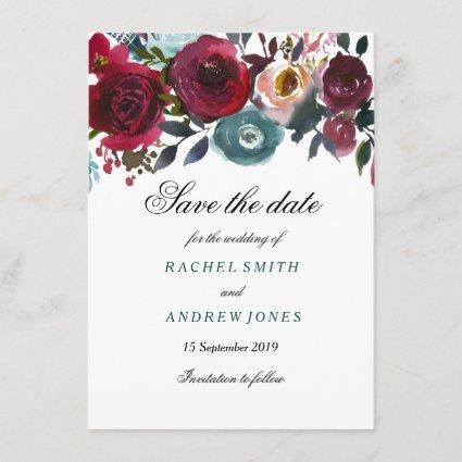 Boho Bordo Burgundy Red Flowers Save the date