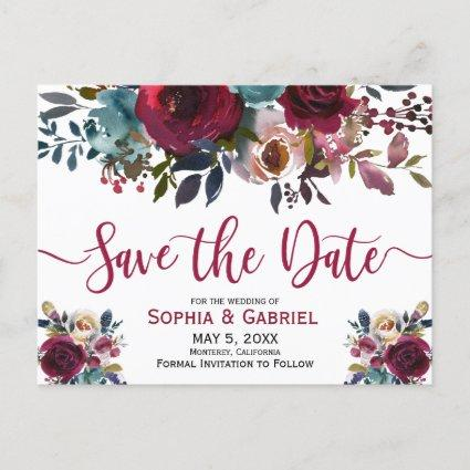 Boho Burgundy Marsala Navy Floral Save the Date Announcement