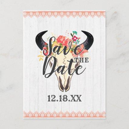 Boho Chic Cow Skull Floral Bouquets Save the Date Announcement