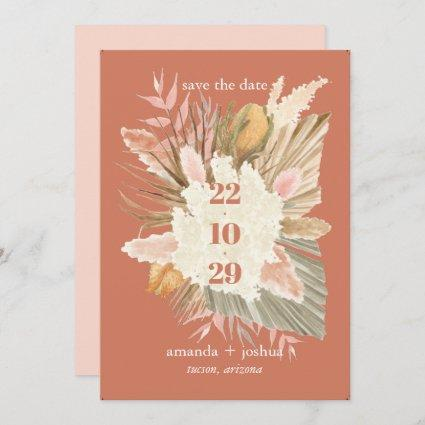Boho Chic Desert Dried Foliage and Pampas Wedding  Save The Date
