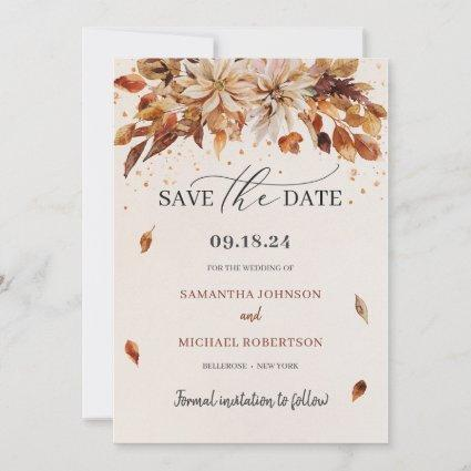 Boho Fall and Autumn Flowers Cooper Colors Save The Date