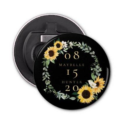 Boho Floral Rose Photo Circle Pink Save The Date Bottle Opener