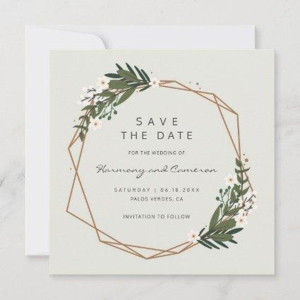 Boho Geometric Gold Frame Greenery Wedding Save The Date