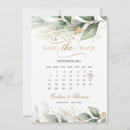 Boho greenery eucalyptus and gold leaves wedding save the date
