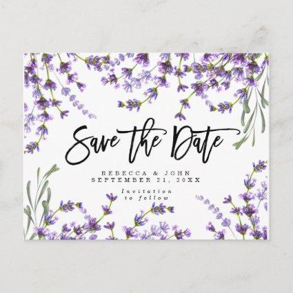 boho lavender floral wedding save the date card