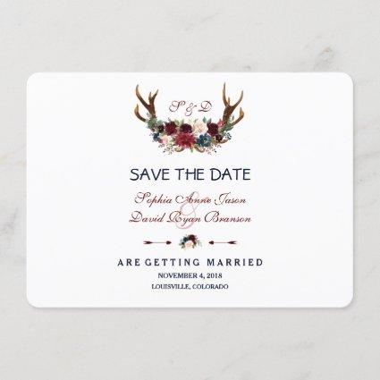 Boho Merlot Navy Blue Floral Antlers Save The Date