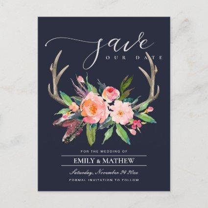 BOHO NAVY BLUSH ANTLER FLORA COUNTRY SAVE THE DATE ANNOUNCEMENT