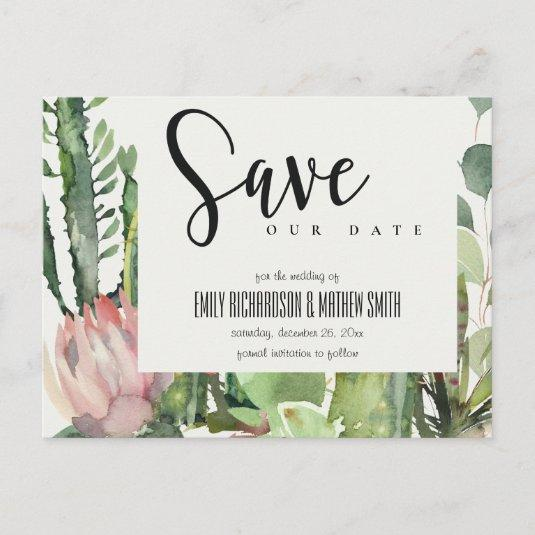 BOHO PINK FLORAL DESERT CACTI FAUNA SAVE THE DATE ANNOUNCEMENT