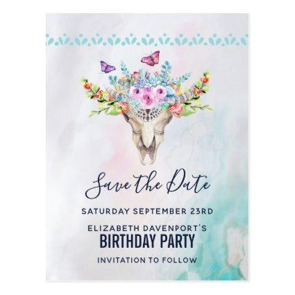 Boho Skull with a Floral Bouquet Save the Date Cards
